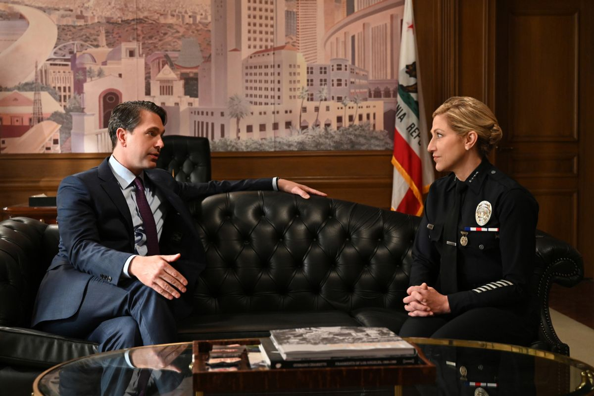 Thomas Sadoski and Edie Falco on the set of TV show Tommy.