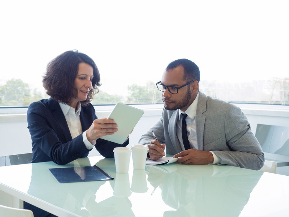 A career coach gives her client some advice