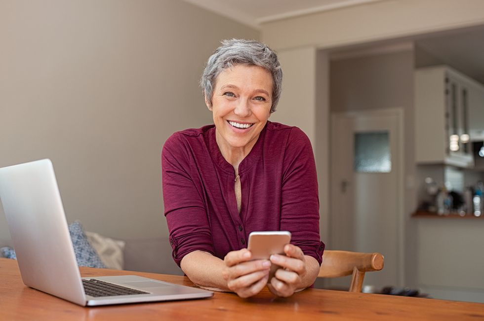 Woman talks to her career coach on Work It Daily's app
