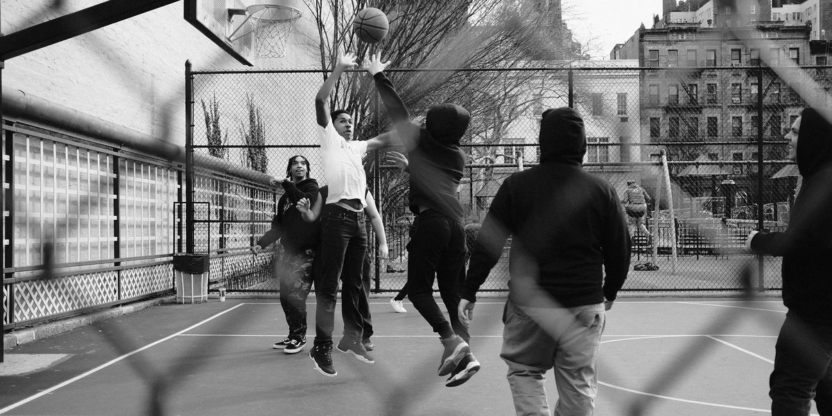 Children playing basketball in Brooklyn, NY