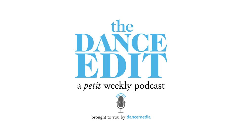 "The Dance Edit podcast logo, which says ""The Dance Edit, a petit weekly podcast, brought to you by dancemedia,"" and a small microphone logo. Text is blue and black."