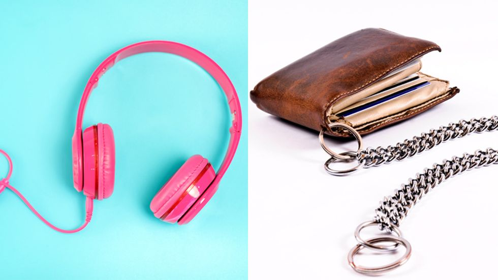 Pink headphones and chain wallet.