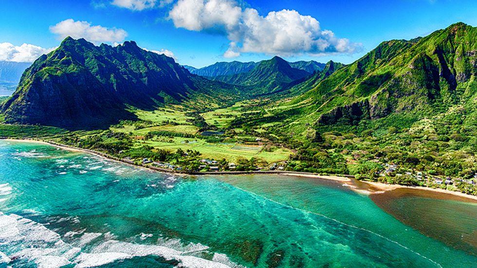 Coastline of Oahu, Hawaii.
