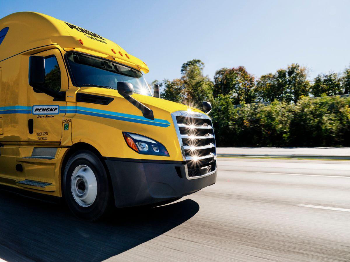 Penske truck on the road