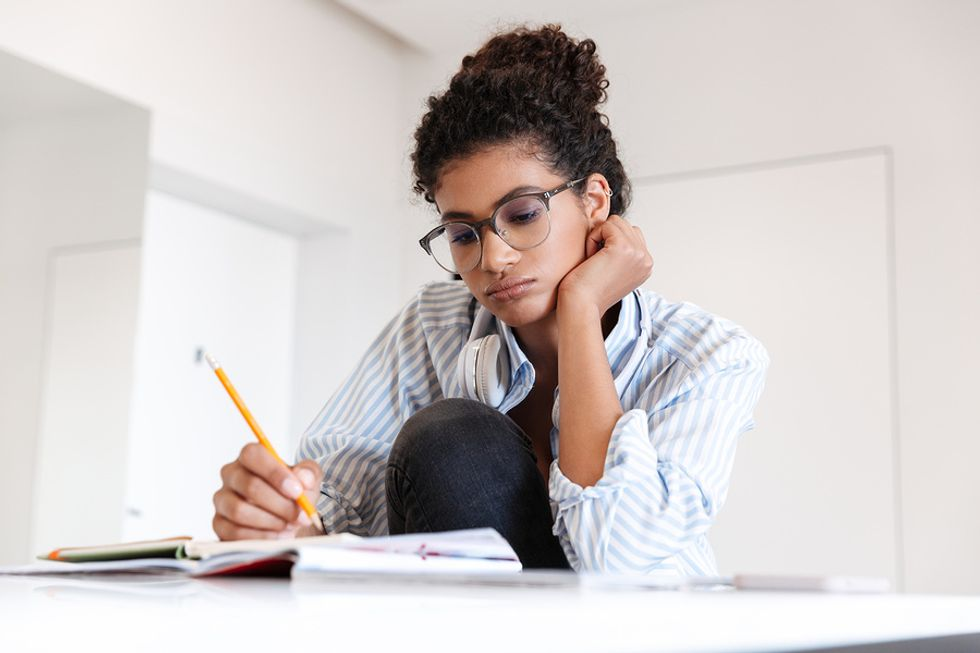 Woman goes to grad school to try to improve her chances of finding a job