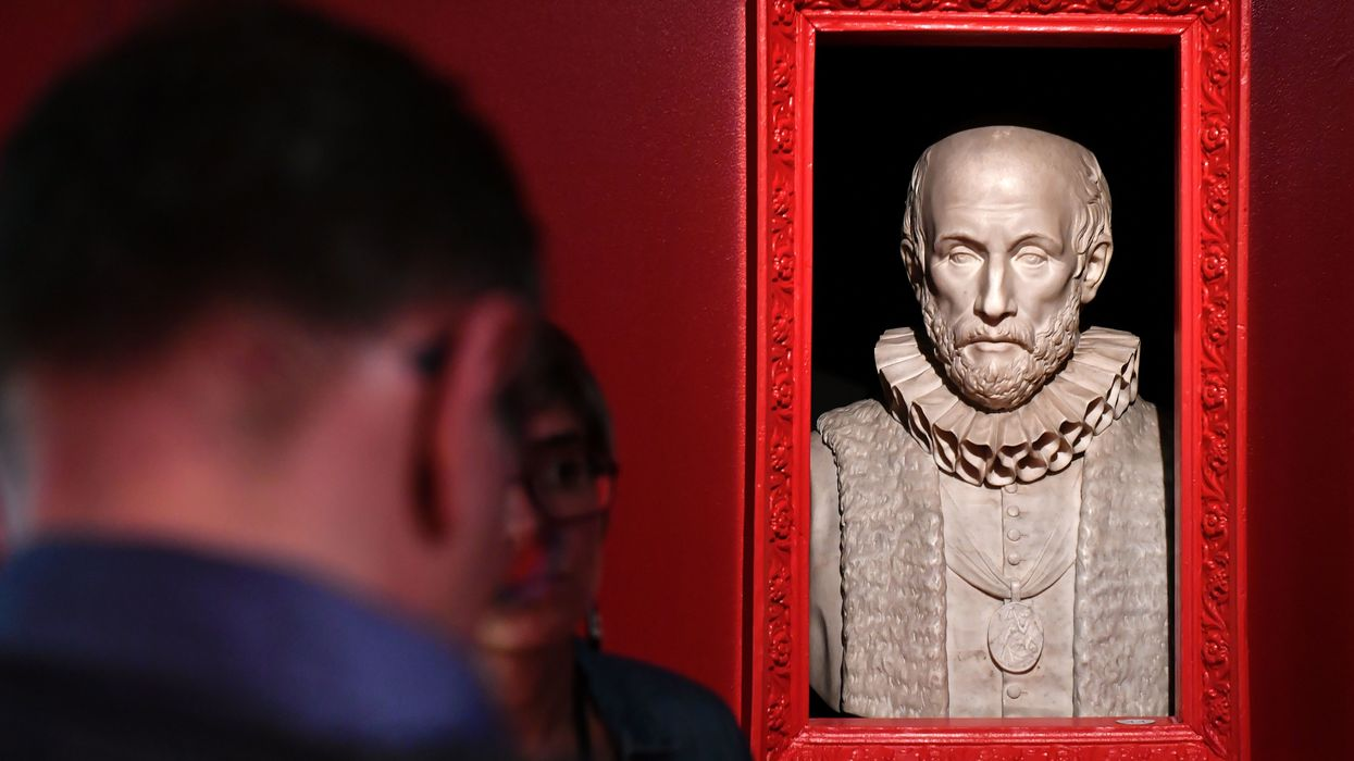 The bust of French philosopher Michel de Montaigne is displayed at the bibliotheque in Bordeaux 2016