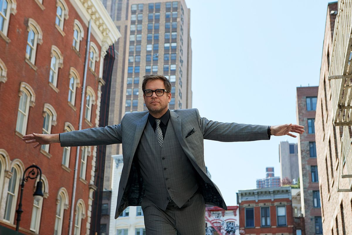 Michael Weatherly with arms spread out in Manhattan.