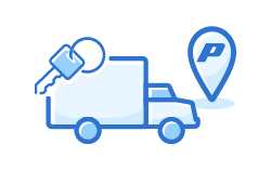 Truck icon with keys and location icon