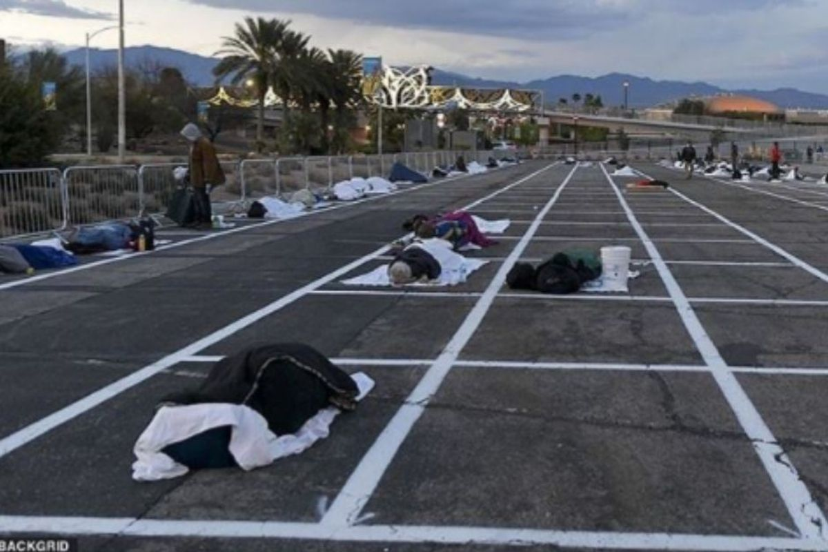 Las Vegas unveils 'social distancing rectangles' for the homeless, instead of actual shelters