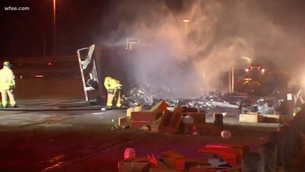 Of course: Semitruck shipment of toilet paper wiped out in fiery highway accident Well, crap