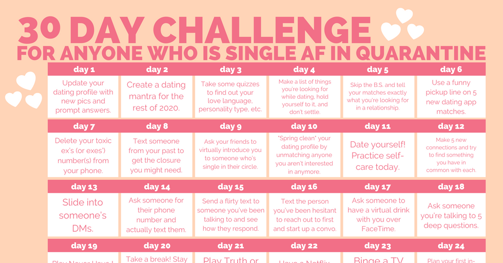The 30-Day Dating Challenge For Anyone Who Is Single AF In Quarantine