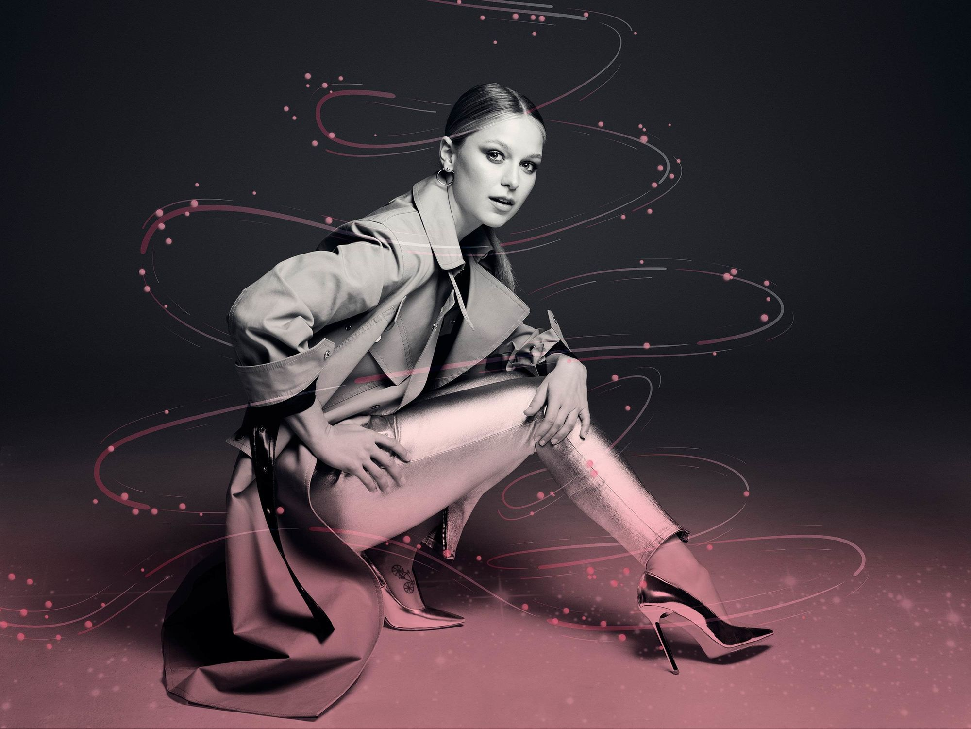Melissa Benoist posing in a fashion shoot.