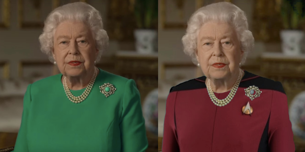 The Internet Had A Field Day Playing Greenscreen Dress-Up With Queen Elizabeth After She Gave Speech Wearing A Green Dress