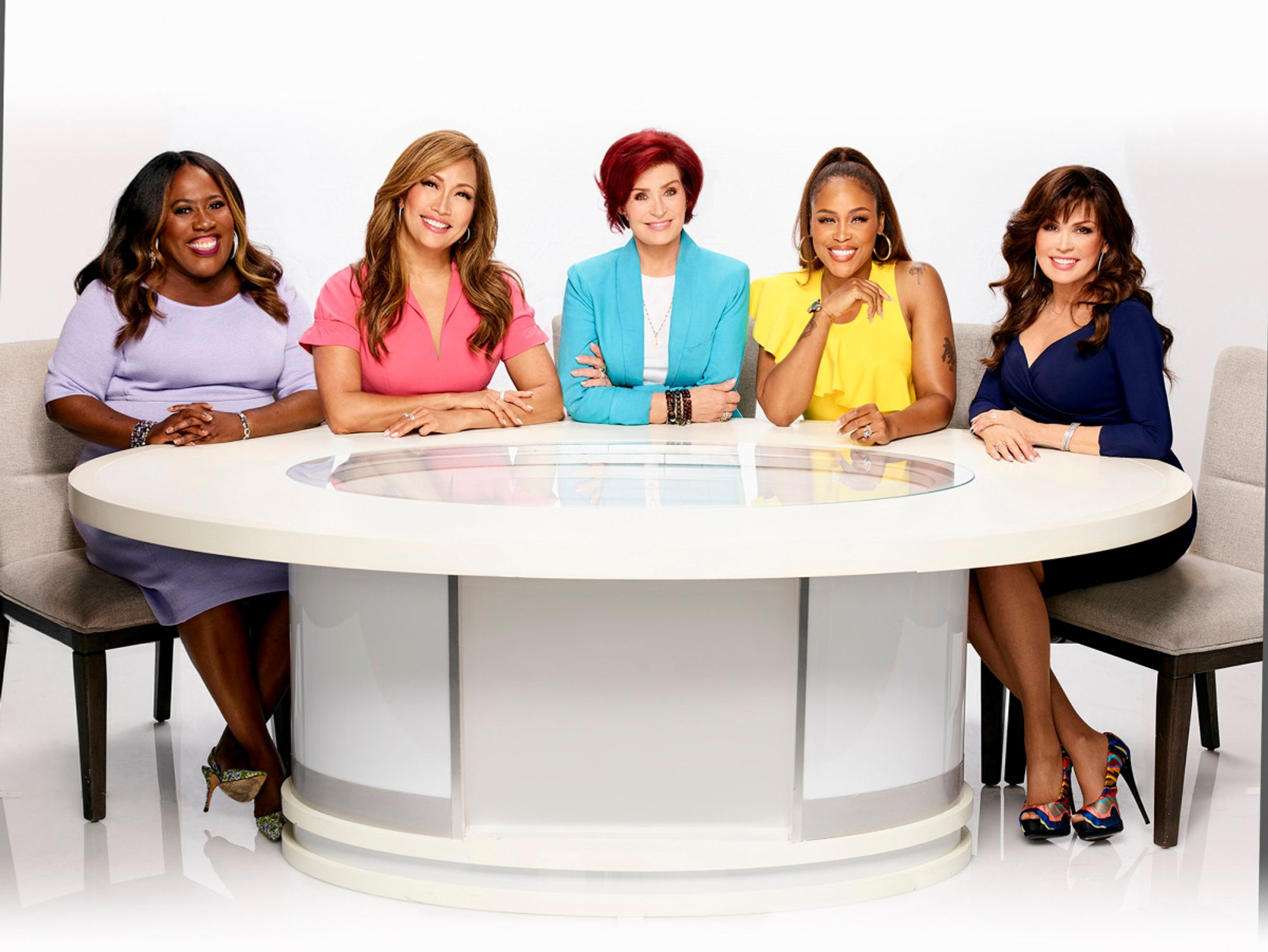 Sheryl Underwood, Carrie Ann Inaba, Sharon Osbourne, Eve Cooper, and Marie Osmond.