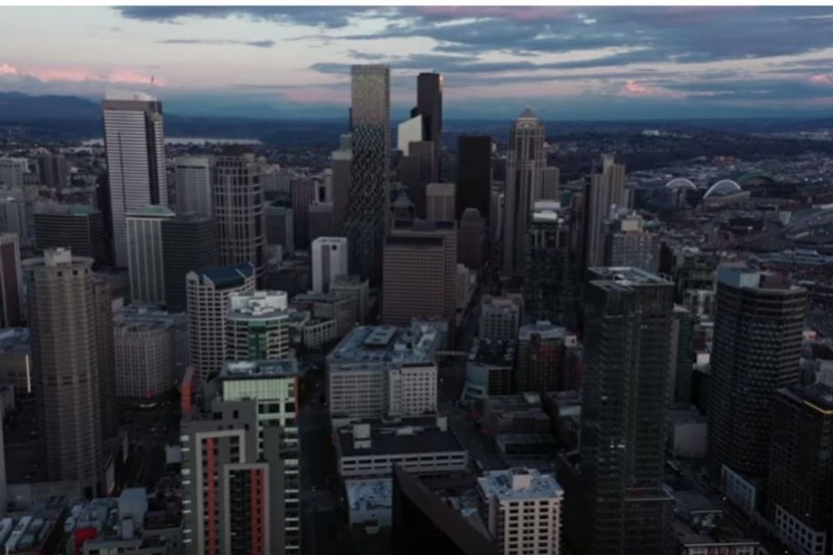 Haunting drone footage of Seattle under lockdown shows how the city has flattened the curve