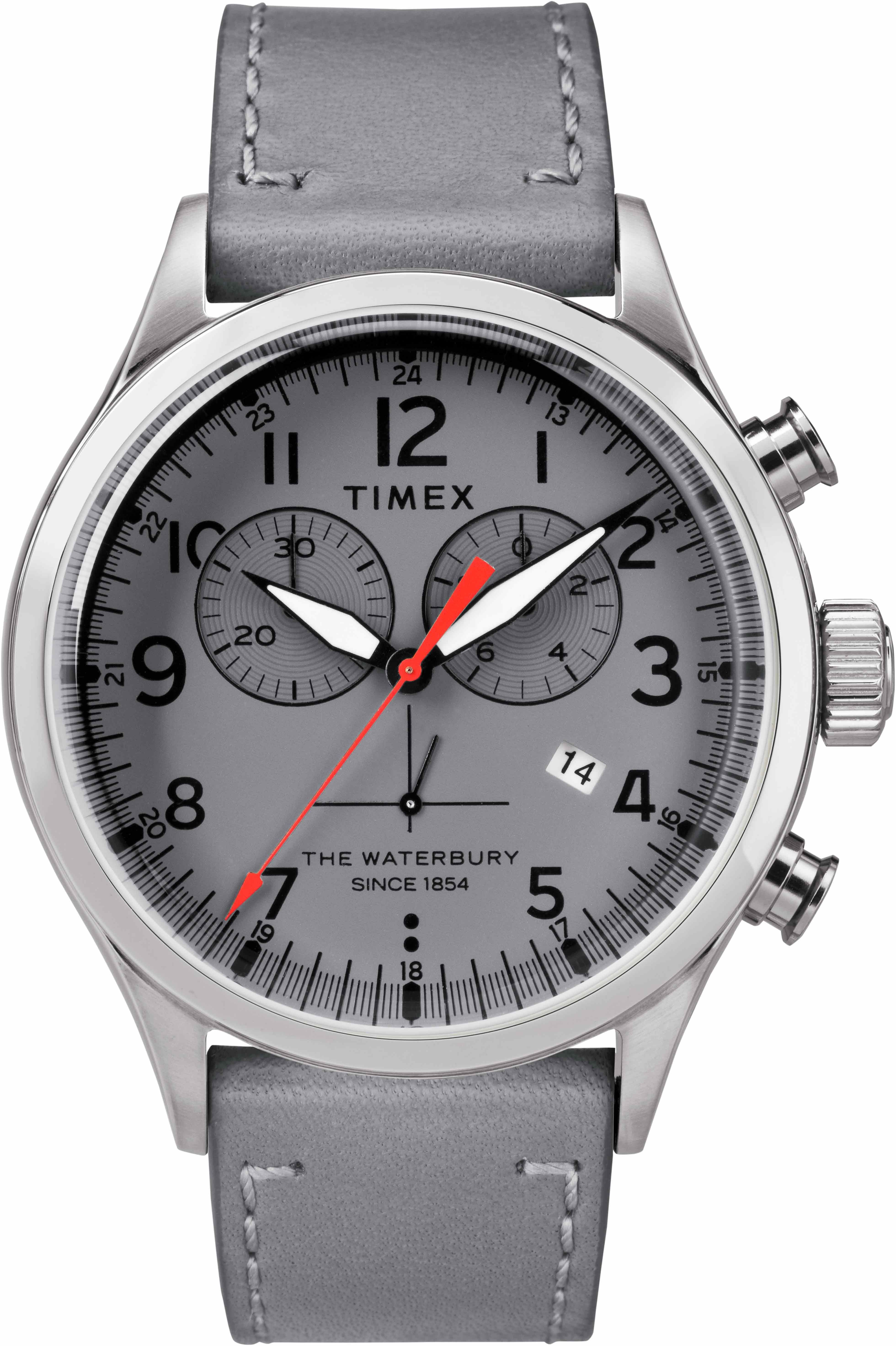 Timex gray chronograph watch.