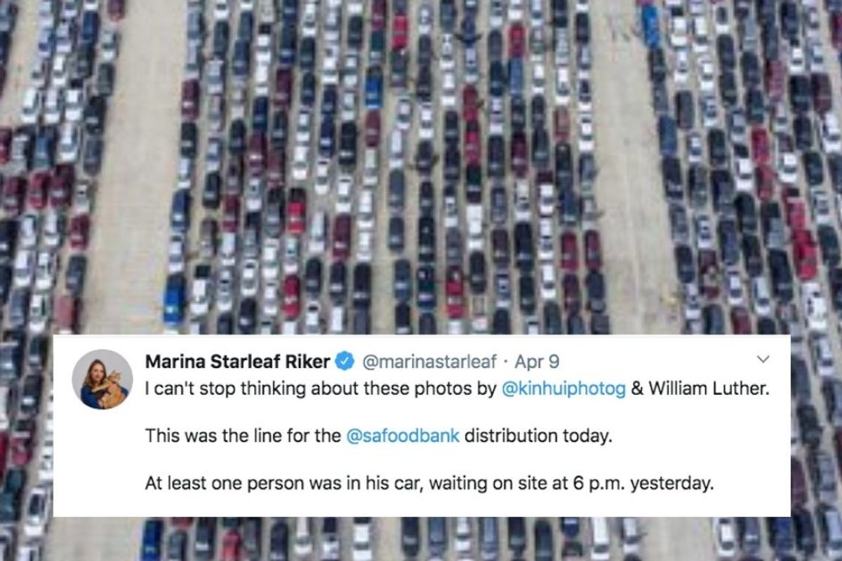 The San Antonio Food Bank was swamped by 10,000 families in one day, and the images are surreal
