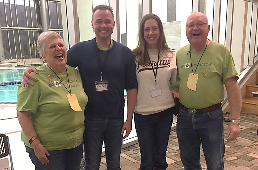 David and his wife Jennifer (center) with Carol and Mark Romine. Carol and Mark lost their son to Lymphoma in 2008. They have been raising money for children and Be The Match ever since.