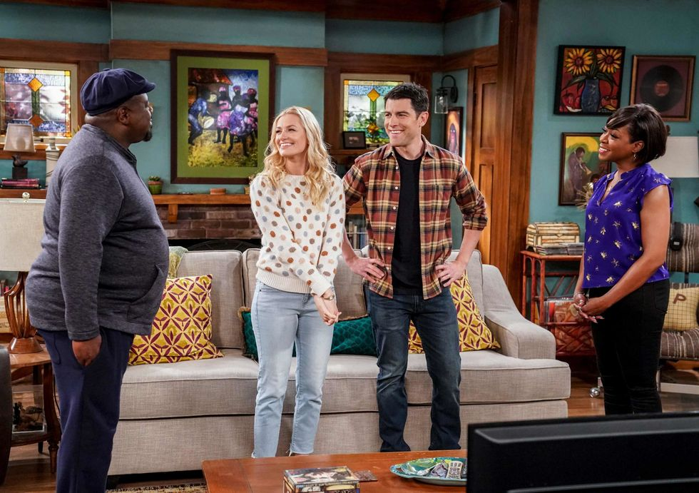 Cedric the Entertainer, Beth Behrs, Max Greenfield, and  Tichina Arnold on TV show The Neighborhood.