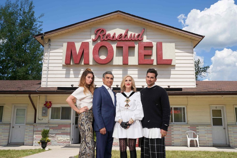 The cast of Schitt's Creek: Annie Murphy, Eugene Levy, Catherine O'Hara, and Dan Levy.