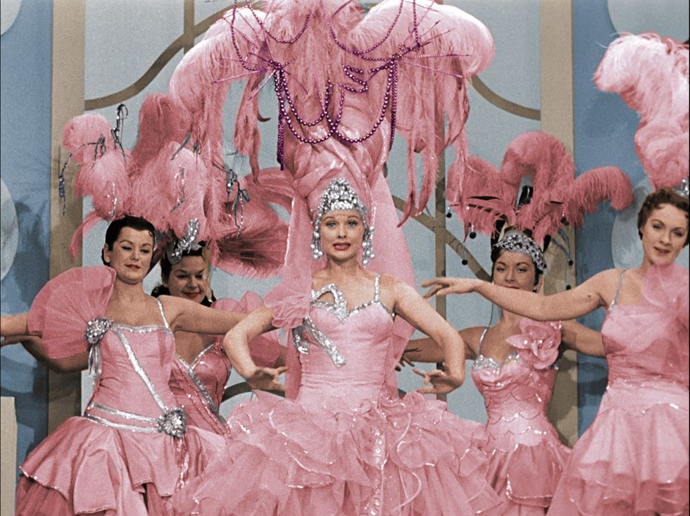 Lucille Ball in dancer outfit on I Love Lucy.