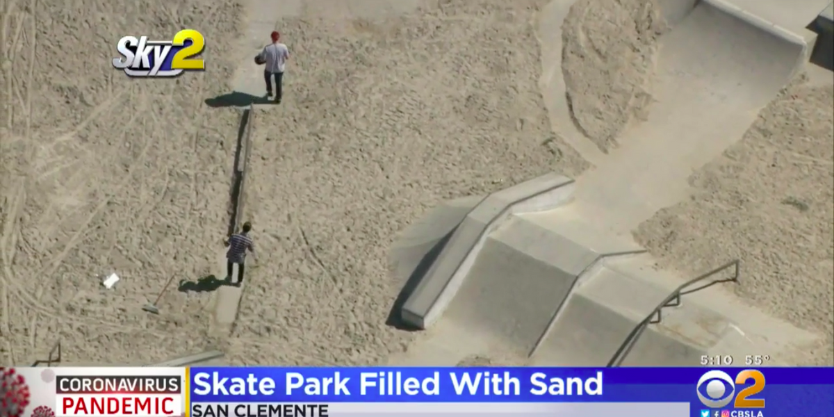 California city dumps 37 tons of sand into a skate park to prevent kids from skating during coronavirus lockdown