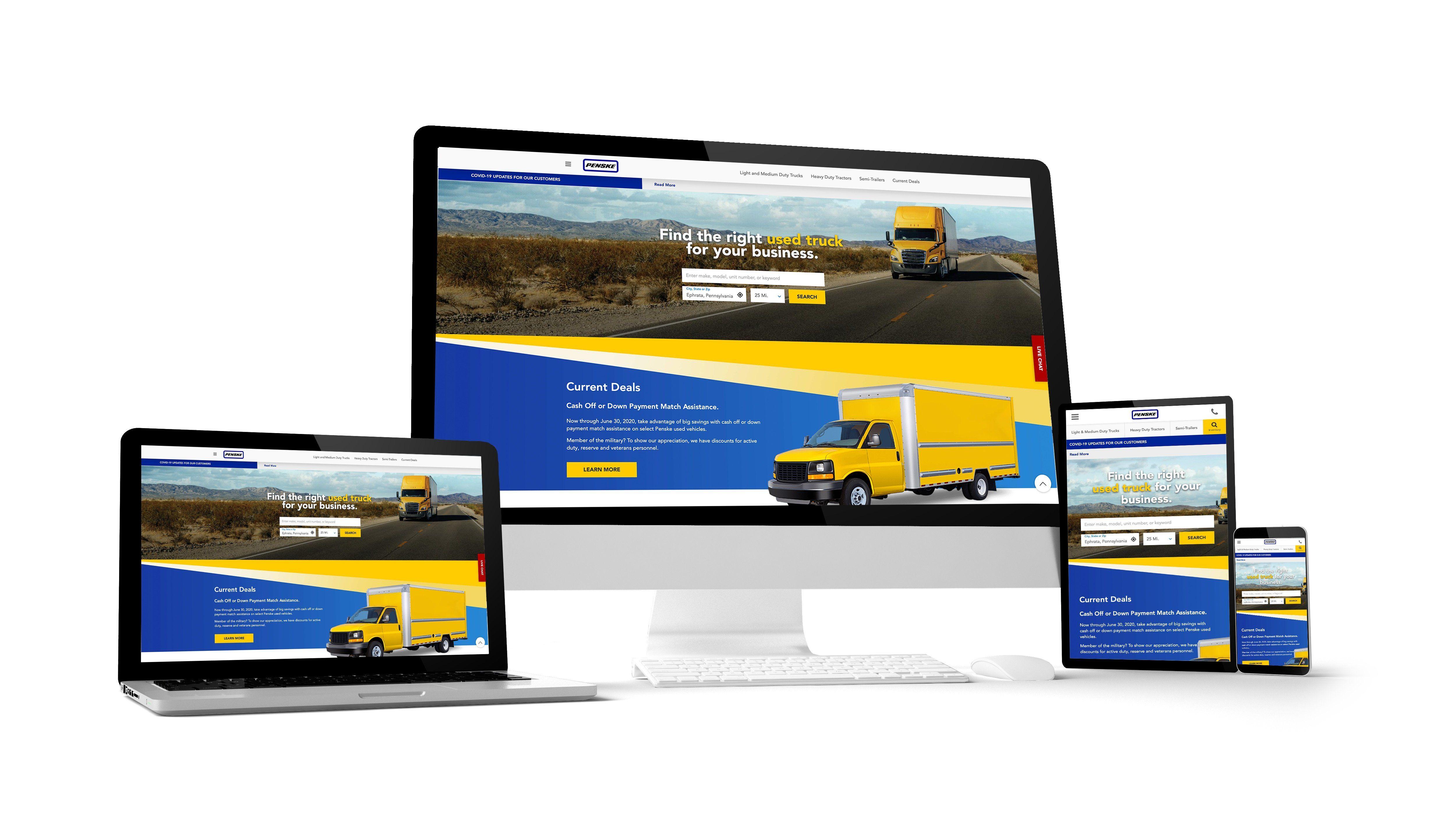 penske used trucks website on different devices