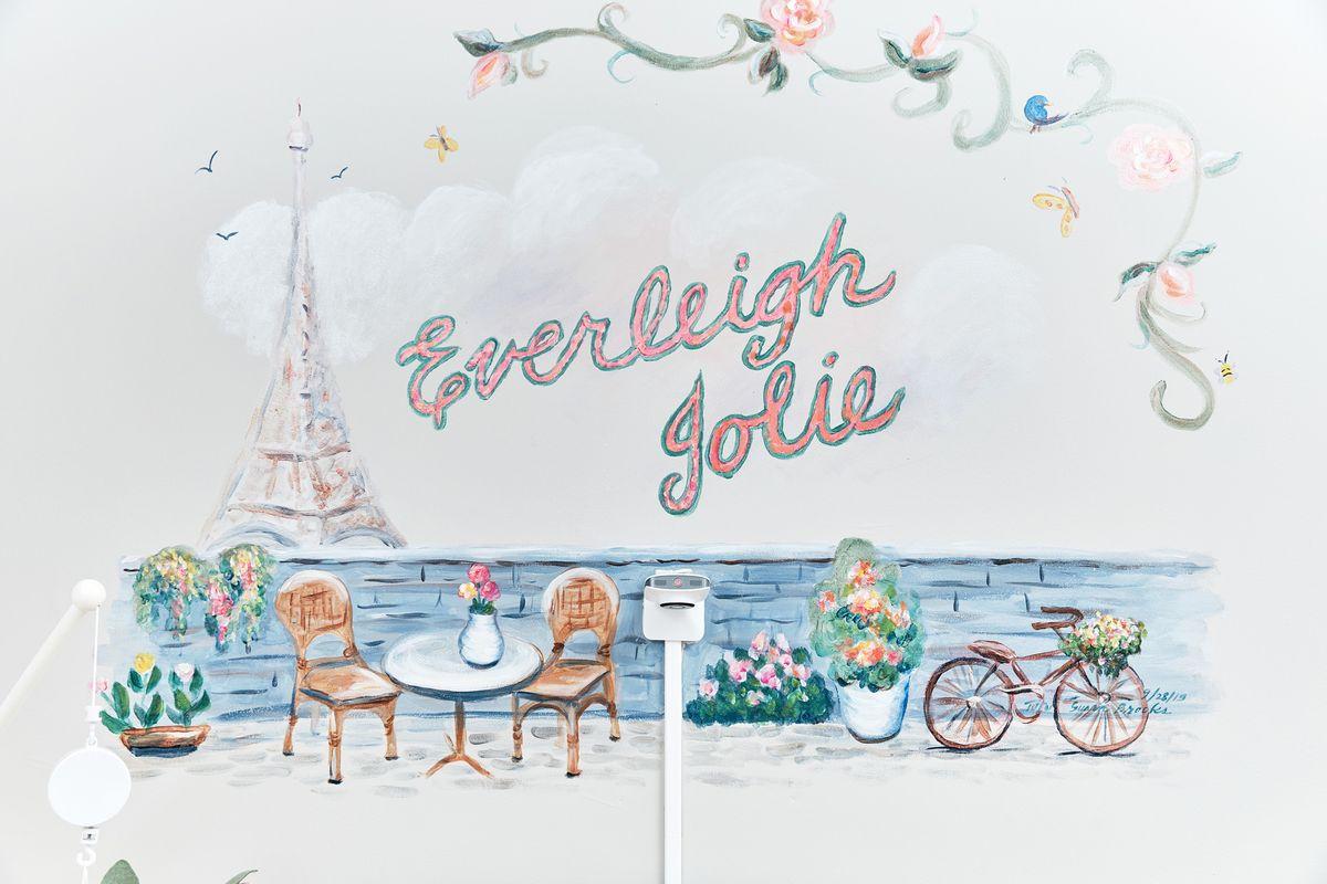 Custom Parisian-inspired wall mural for a nursery