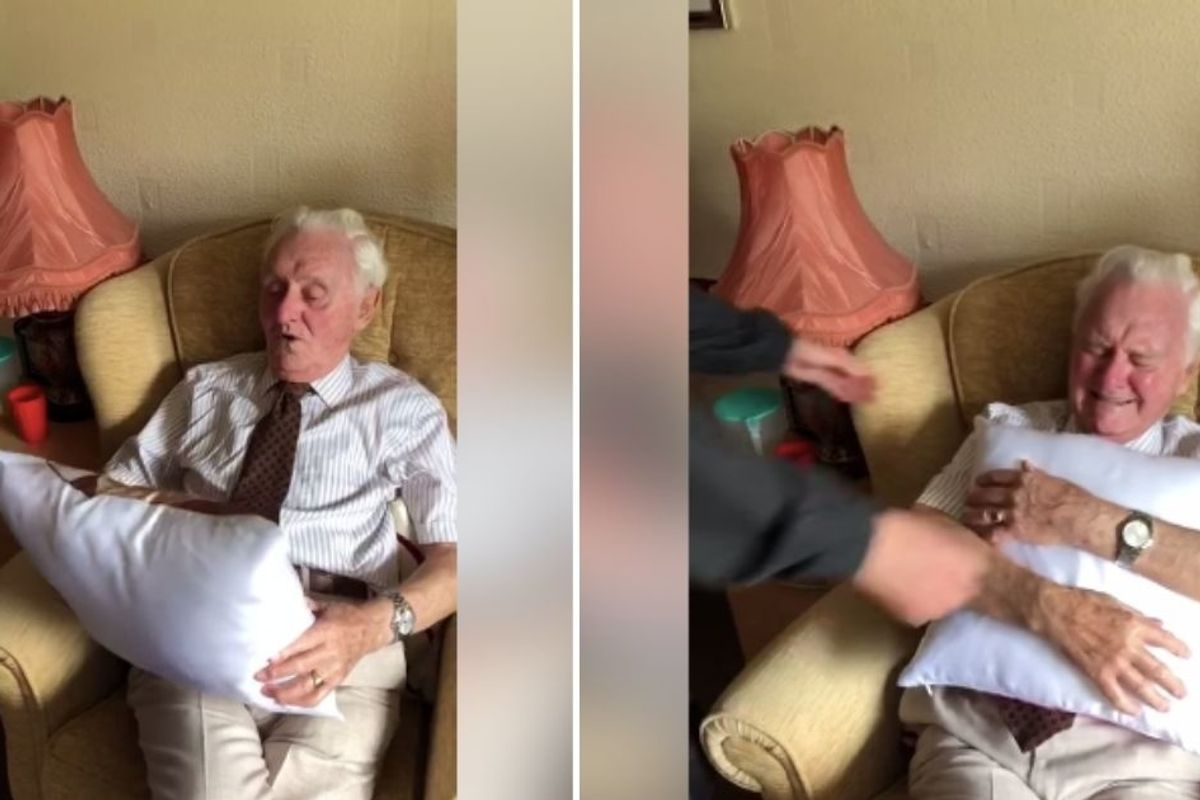 94-yr-old widower's reaction to being given a pillow with his wife's face on it is priceless