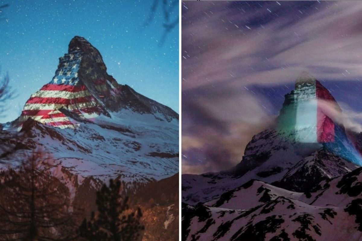 Photos of the world's flags being projected onto Switzerland's Matterhorn are just stunning