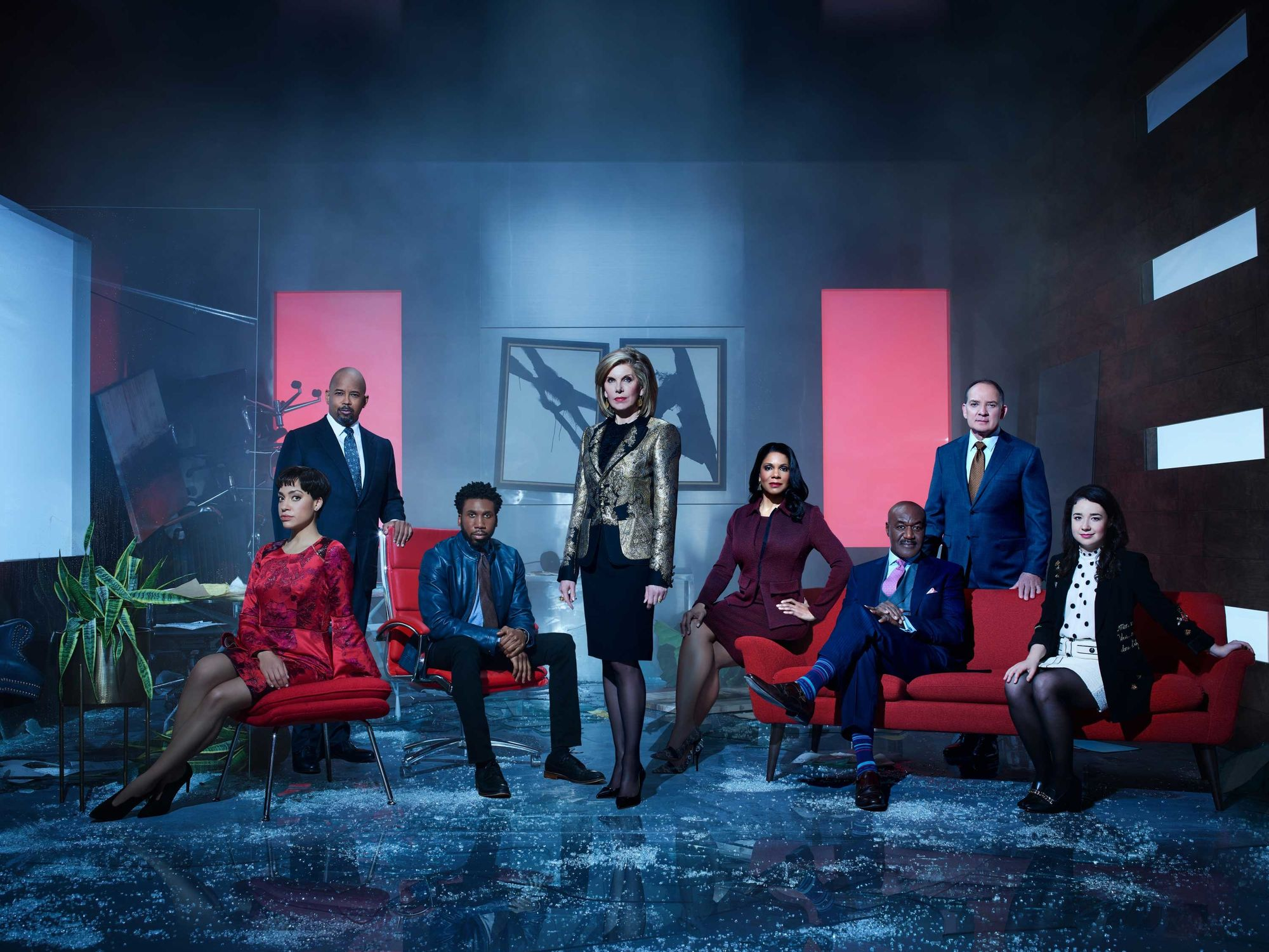 The cast of The Good Fight in a TV promo shot.