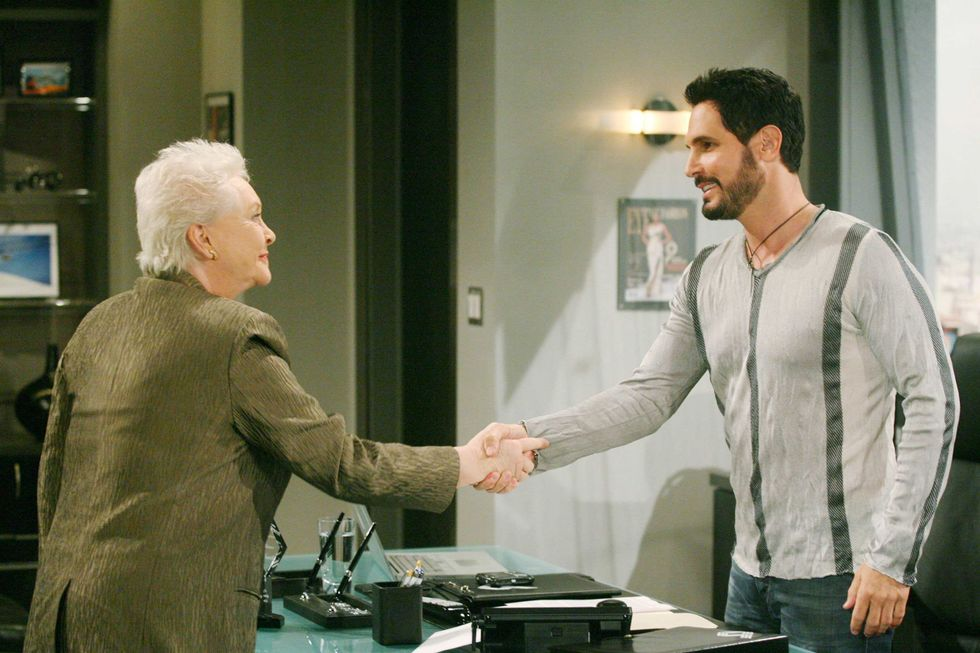 Susan Flannery and Don Diamont on the set of The Bold and the Beautiful.