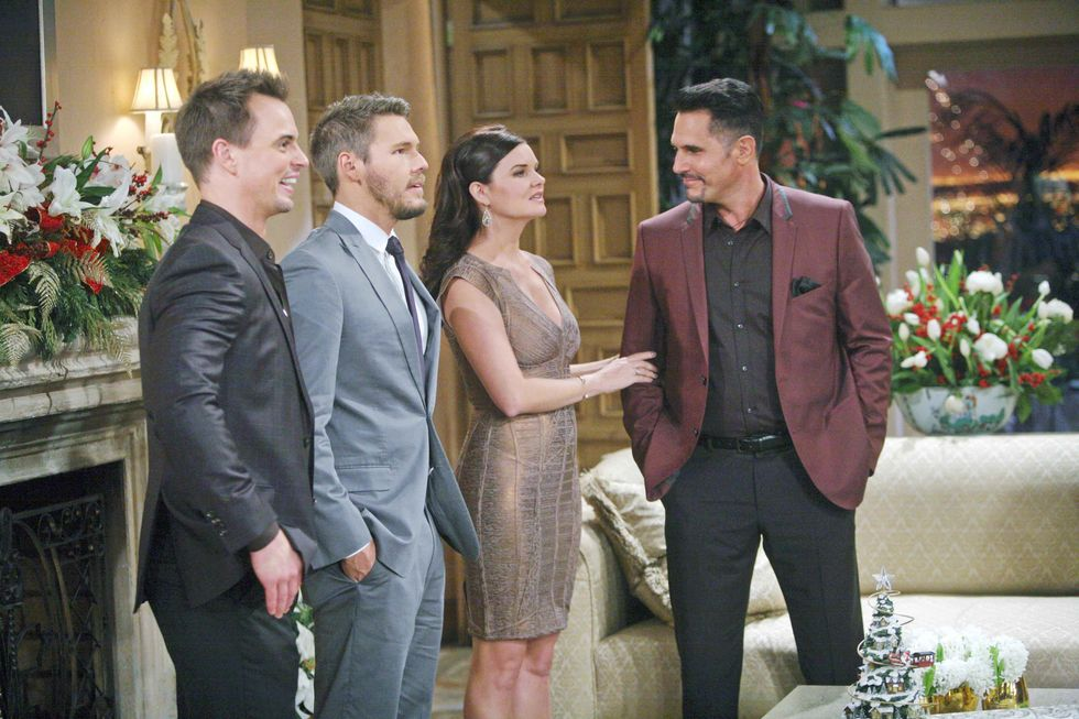 Darin Brooks, Scott Clifton, Heather Tom and Don Diamont on the set of soap opera The Bold and the Beautiful.
