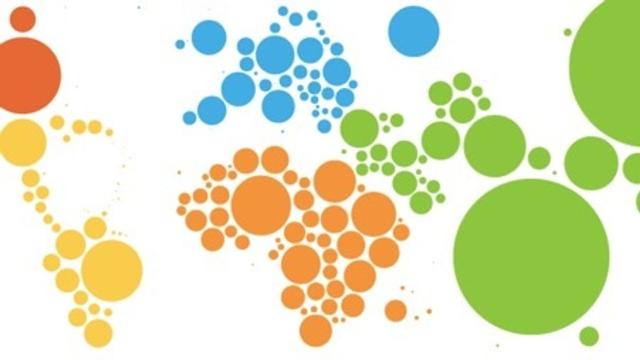Cartogram of population sizes per country.