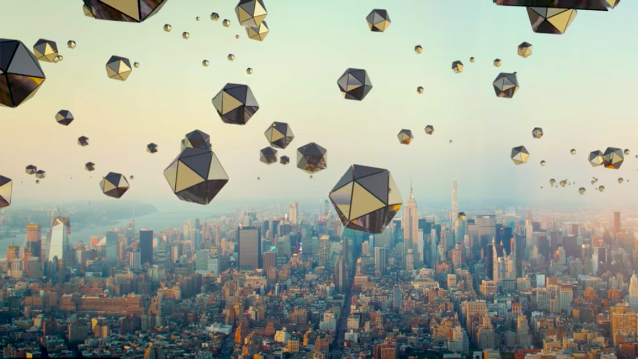 Tetrahedrons in the sky above New York City