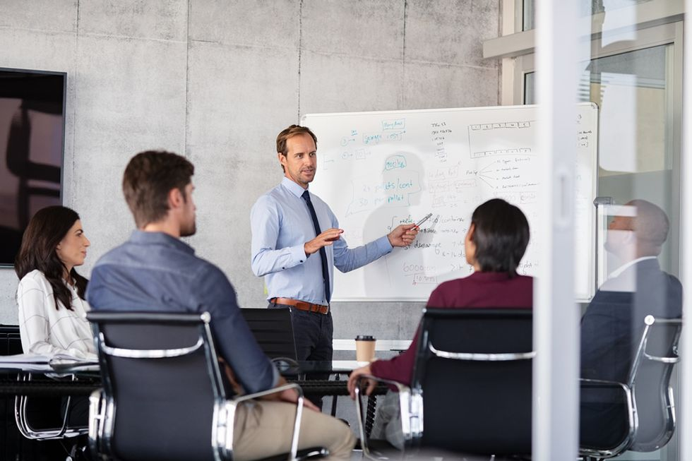 Man presents new business processes after a crisis