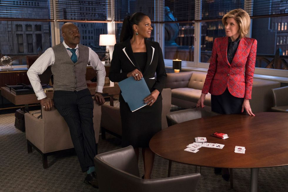 Delory Lindo, Audra McDonald, and Christine Baranski in an office set on CBS All Access show The Good Fight