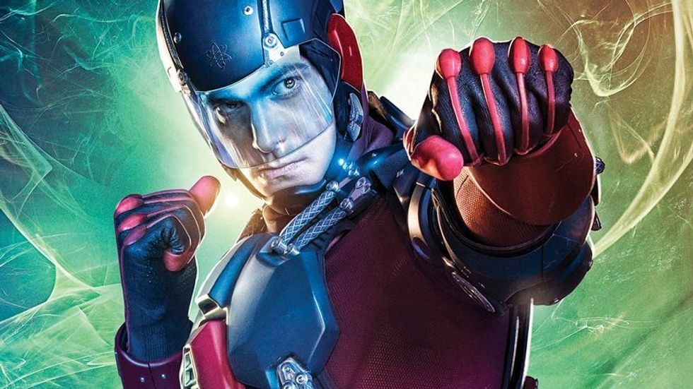 Brandon Routh as The Atom with his clenched fist out