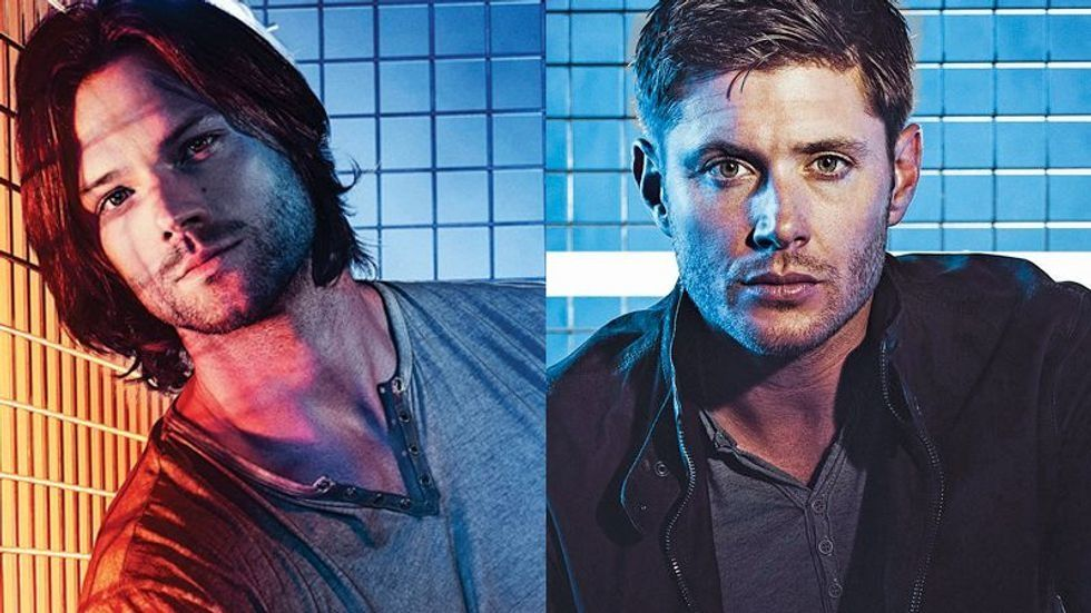 A picture of Jared Padalecki to the right and a picture of Jensen Ackles to the left