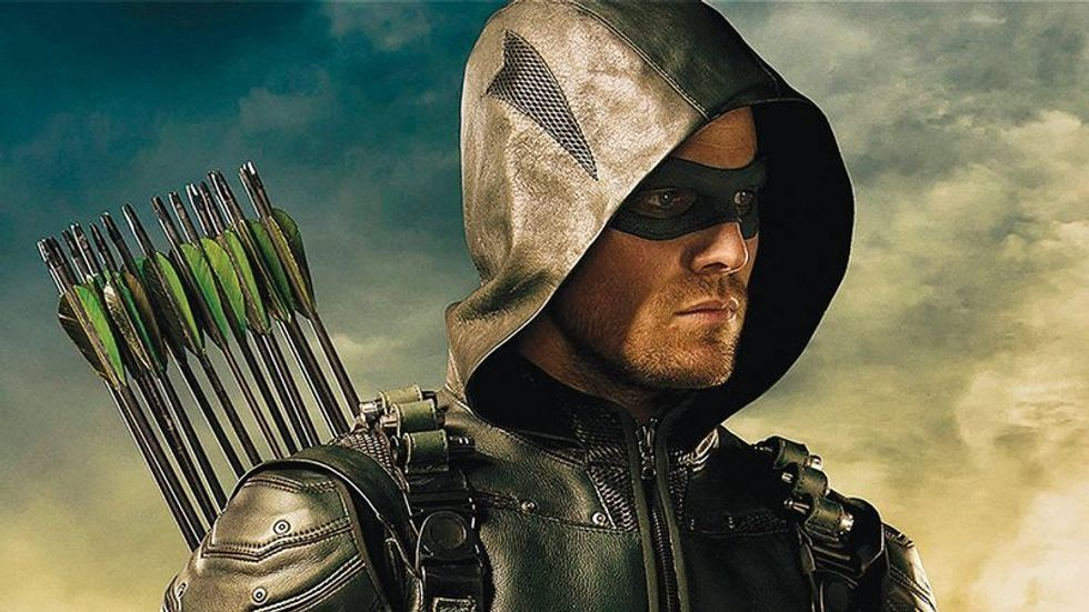 Stephen Arnell as Oliver Queen of Arrow dressed in his archery outfit