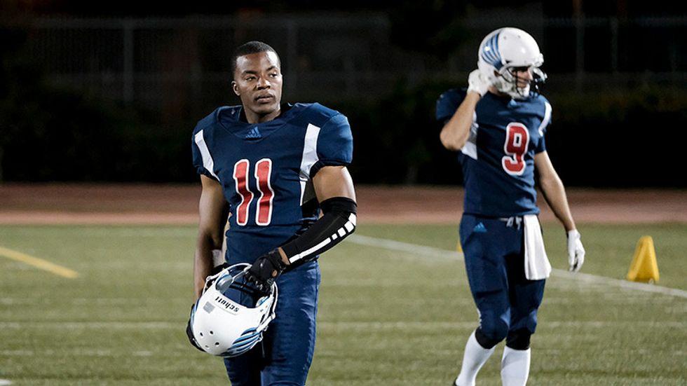 Daniel Ezra wears his on-field football gear in a scene from All American