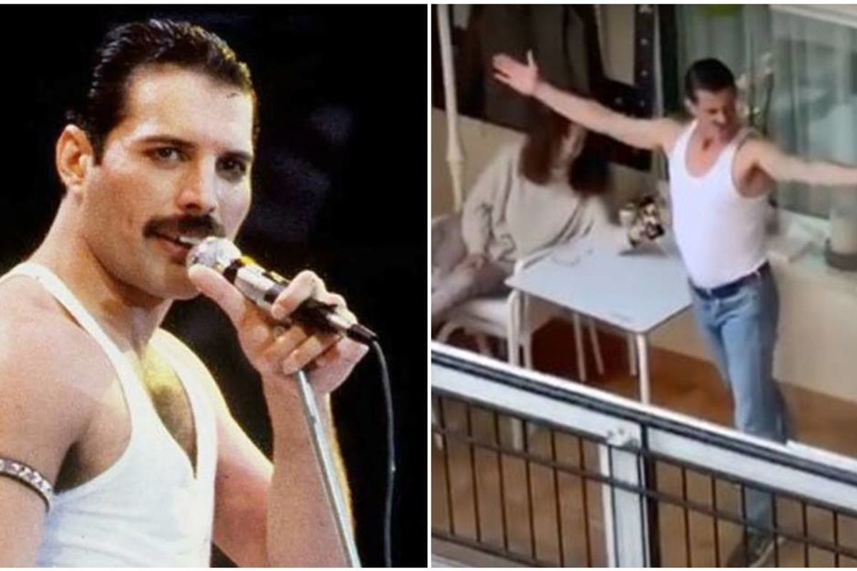 Freddie Mercury impersonator entertains his neighbors and us all with epic 'I Want to Break Free'