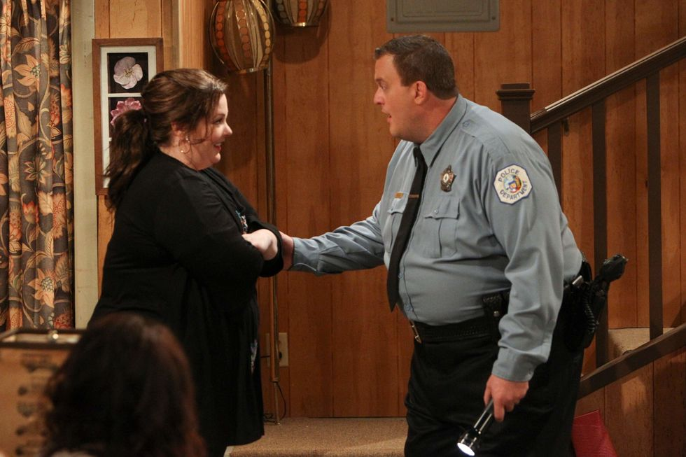 Billy Gardell and Melissa McCarthy from a scene from Mike and Molly.