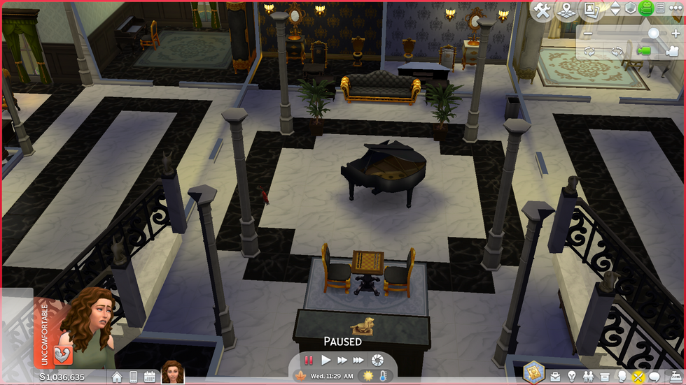 Uncomfortable Sim in a Mansion in the Sims 4