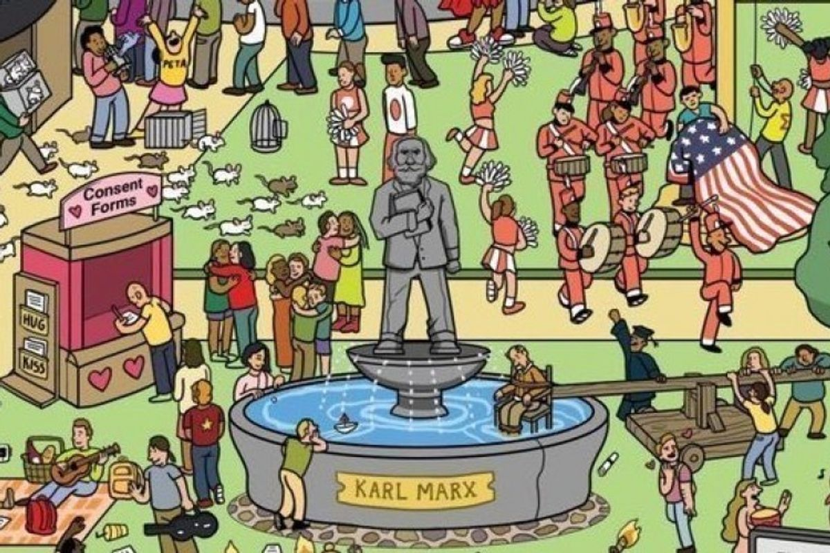 """Cartoon of """"Campus Seen Through the Eyes of Conservatives"""" goes viral after right-wingers didn't get it was satire"""