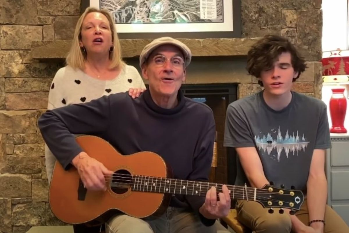 James Taylor performs from home with his wife and son singing harmony, and it's just so pure