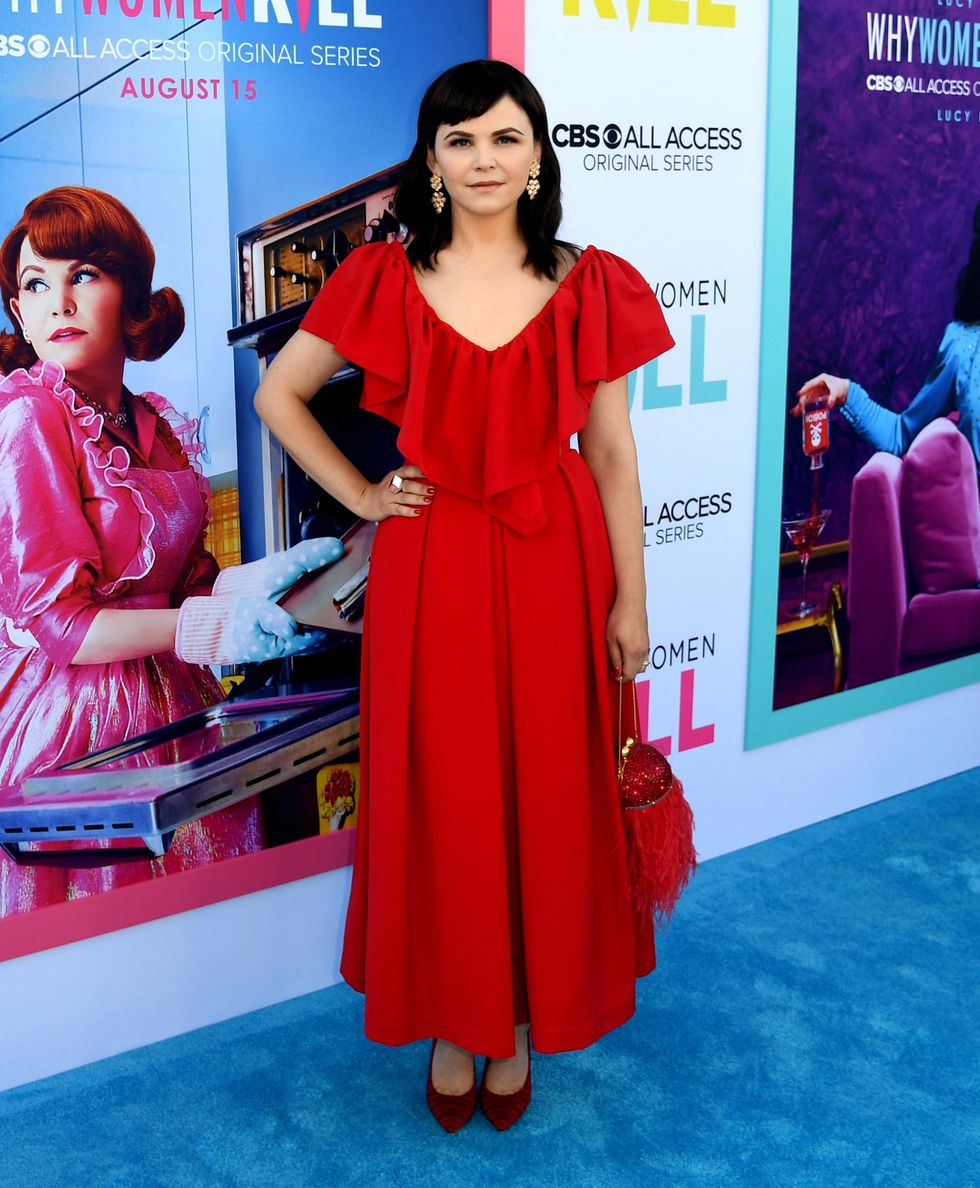 Ginnifer Goodwin in a red summer dress.