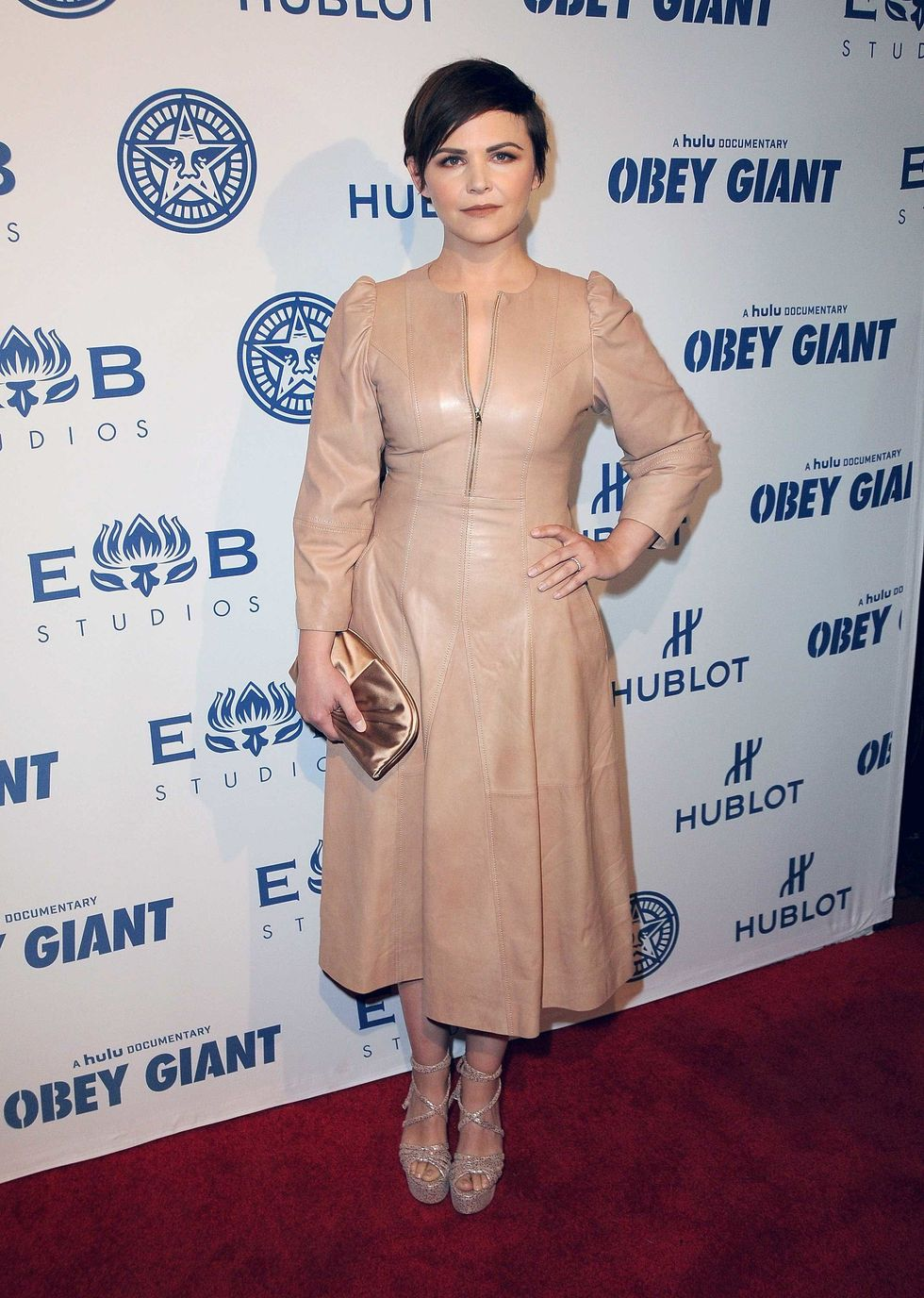 Ginnifer Goodwin in a beige/nude leather dress.
