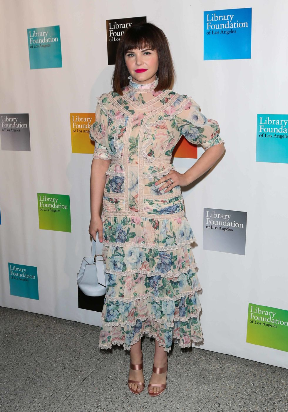Ginnifer Goodwin in a floral print dress.
