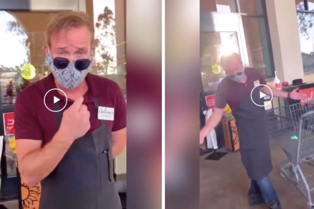 Grocery worker literally dances his way through a 'Karen' protesting store's mask policy